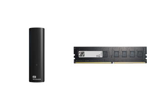 WD Elements 10TB USB 3.0 Desktop Hard Drive Black WDBWLG0100HBK-NESN and G.SKILL Value Series 32GB 288-Pin DDR4 SDRAM DDR4 2666 (PC4 21300) Desktop Memory Model F4-2666C19S-32GNT