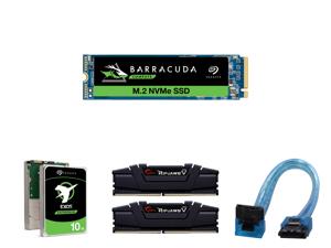 Seagate BarraCuda 510 M.2 2280 1TB PCIe G3 x4 NVMe 1.3 3D TLC Internal Solid State Drive (SSD) ZP1000CM3A001 and Seagate Exos X10 10TB 512e SATA 6Gb/s 7200 RPM 3.5-Inch Enterprise HDD (ST10000NM0086) and G.SKILL Ripjaws V Series 64GB (2 x 3