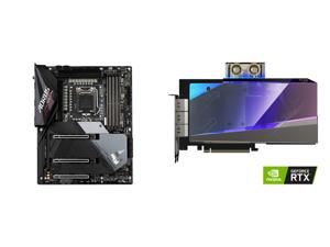 GIGABYTE Z590 AORUS ULTRA LGA 1200 Intel Z590 SATA 6Gb/s ATX Intel Motherboard and GIGABYTE AORUS GeForce RTX 3080 XTREME WATERFORCE WB 10G Graphics Card WATERFORCE Water Block Cooling System 10GB 320-bit GDDR6X GV-N3080AORUSX WB-10GD Video