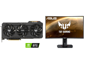 """ASUS TUF Gaming GeForce RTX 3080 TUF-RTX3080-O10G-GAMING Video Card and ASUS TUF GAMING VG27WQ 27"""" WQHD 2560 x 1440 (2K) 1ms (MPRT) 165Hz (Max) HDMI DisplayPort FreeSync DisplayHDR 400 Built-in Speakers Height Adjustable Curved Gaming Monit"""
