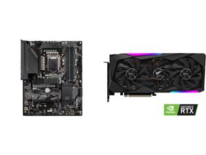 GIGABYTE Z590 UD LGA 1200 Intel Z590 ATX Motherboard with Triple M.2 PCIe 4.0 USB 3.2 Gen 2 2.5GbE LAN and GIGABYTE AORUS GeForce RTX 3060 Ti MASTER 8GB Video Card GV-N306TAORUS M-8GD