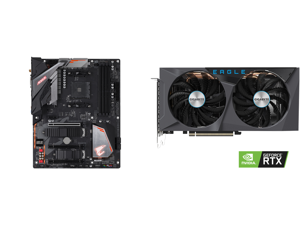 GIGABYTE B450 AORUS PRO WIFI (rev. 1.0) AM4 AMD B450 SATA 6Gb/s ATX AMD Motherboard and GIGABYTE Eagle GeForce RTX 3060 Ti 8GB GDDR6 PCI Express 4.0 x16 ATX Video Card GV-N306TEAGLE-8GD