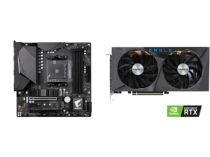 GIGABYTE B550M AORUS PRO AM4 AMD B550 Micro-ATX Motherboard with Dual M.2 SATA 6Gb/s USB 3.2 Gen 2 PCIe 4.0 and GIGABYTE Eagle GeForce RTX 3060 Ti 8GB GDDR6 PCI Express 4.0 x16 ATX Video Card GV-N306TEAGLE-8GD
