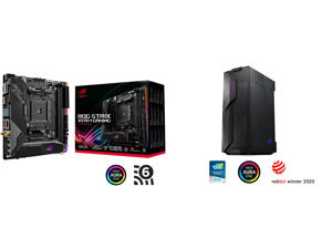 ASUS ROG Strix X570-I Gaming AM4 Mini ITX AMD Motherboard and ASUS ROG Z11 Mini-ITX/DTX Mid-Tower PC Gaming Case with Patented 11° Tilt Design Compatible with ATX Power Supply or a 3-Slot Graphics Tempered-glass Panels Front I/O USB 3.2 Gen