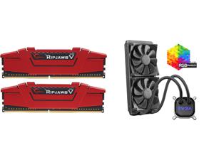 G.SKILL Ripjaws V Series 16GB (2 x 8GB) 288-Pin DDR4 SDRAM DDR4 3200 (PC4 25600) Desktop Memory Model F4-3200C16D-16GVRB and EVGA CLC 280mm All-In-One RGB LED CPU Liquid Cooler 2x FX13 140mm PWM Fans Intel AMD 400-HY-CL28-V1