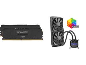 Crucial Ballistix 3200 MHz DDR4 DRAM Desktop Gaming Memory Kit 16GB (8GBx2) CL16 BL2K8G32C16U4B (BLACK) and EVGA CLC 280mm All-In-One RGB LED CPU Liquid Cooler 2x FX13 140mm PWM Fans Intel AMD 400-HY-CL28-V1