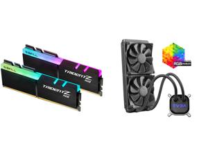 G.SKILL TridentZ RGB Series 32GB (2 x 16GB) 288-Pin DDR4 SDRAM DDR4 3200 (PC4 25600) Intel XMP 2.0 Desktop Memory Model F4-3200C16D-32GTZR and EVGA CLC 280mm All-In-One RGB LED CPU Liquid Cooler 2x FX13 140mm PWM Fans Intel AMD 400-HY-CL28-