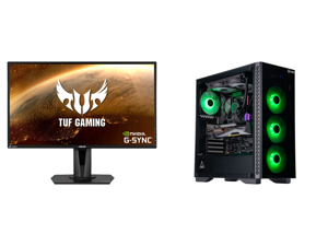 """ASUS TUF Gaming VG27AQ 27"""" 2560 x 1440 WQHD 2K Resolution 165Hz 1ms 2xHDMI DisplayPort Adaptive-Sync G-SYNC Compatible Asus Eye Care with Ultra Low-Blue Light Flicker-Free IPS HDR10 Gaming Monitor and ABS Gladiator Gaming PC - Ryzen 7 3700X"""