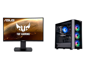 """ASUS TUF Gaming VG24VQ 24"""" Full HD 1920 x 1080 1ms MPRT 144Hz 2 x HDMI DisplayPort AMD FreeSync Asus Eye Care with Ultra Low-Blue Light Flicker-Free Backlit LED Curved Gaming Monitor and ABS Master Gaming PC - Intel i7 10700F - GeForce RTX"""
