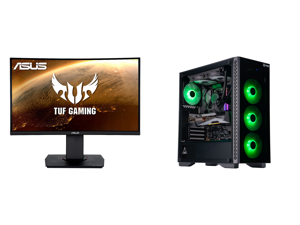 """ASUS TUF Gaming VG24VQ 24"""" Full HD 1920 x 1080 1ms MPRT 144Hz 2 x HDMI DisplayPort AMD FreeSync Asus Eye Care with Ultra Low-Blue Light Flicker-Free Backlit LED Curved Gaming Monitor and ABS Gladiator Gaming PC - Ryzen 7 3700X - GeForce RTX"""