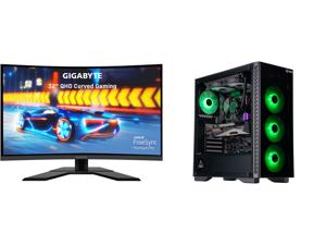 "GIGABYTE G32QC A 32"" 165Hz 2K 1ms (MPRT) 93% DCI-P3 VESA HDR400 FreeSync Premium Pro 1 x DisplayPort 1.2 2 x HDMI 20 2 x USB 3.0 Curved Gaming Monitor and ABS Gladiator Gaming PC - Ryzen 7 3700X - GeForce RTX 3080 - G.Skill TridentZ RGB 16G"