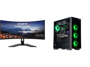 "GIGABYTE G34WQC 34"" 144Hz Curved Gaming Monitor 3440 x 1440 VA 1500R Display 1ms(MPRT) 87% DCI-P3 VESA Display HDR400 FreeSync Premium 2x DisplayPort 1.4 2x HDMI 2.0 and ABS Gladiator Gaming PC - Ryzen 7 3700X - GeForce RTX 3080 - G.Skill T"