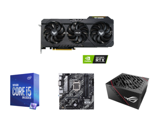 ASUS TUF Gaming GeForce RTX 3060 12GB GDDR6 PCI Express 4.0 Video Card OC Edition TUF-RTX3060-O12G-GAMING and Intel Core i5-10600K Comet Lake 6-Core 4.1 GHz LGA 1200 125W BX8070110600K Desktop Processor Intel UHD Graphics 630 and ASUS PRIME