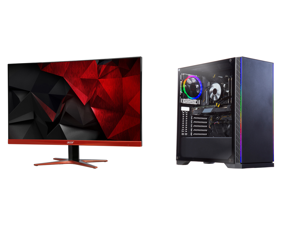 """Acer XG270HU omidpx 27"""" 2K 2560 x 1440 1ms 144Hz AMD FreeSync Technology Edge-to-Edge Frameless Design DVI-D HDMI DisplayPort Built-in Speakers LED Backlit LCD Gaming Monitor and ABS Challenger Gaming PC - Intel i5 10400F - GeForce GTX 1660"""