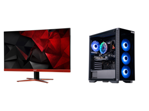 """Acer XG270HU omidpx 27"""" 2K 2560 x 1440 1ms 144Hz AMD FreeSync Technology Edge-to-Edge Frameless Design DVI-D HDMI DisplayPort Built-in Speakers LED Backlit LCD Gaming Monitor and ABS Master Gaming PC - Ryzen 5 3600 - GeForce RTX 2060 - 16GB"""