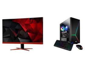 "Acer XG270HU omidpx 27"" 2K 2560 x 1440 1ms 144Hz AMD FreeSync Technology Edge-to-Edge Frameless Design DVI-D HDMI DisplayPort Built-in Speakers LED Backlit LCD Gaming Monitor and iBUYPOWER Slate 4 161i - Intel Core i7-10700F - GeForce GTX 1"
