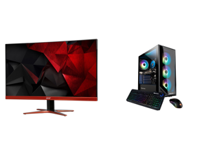 """Acer XG270HU omidpx 27"""" 2K 2560 x 1440 1ms 144Hz AMD FreeSync Technology Edge-to-Edge Frameless Design DVI-D HDMI DisplayPort Built-in Speakers LED Backlit LCD Gaming Monitor and iBUYPOWER Gaming Desktop Trace4MR179A Ryzen 7 3rd Gen 3700X ("""