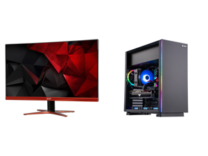 """Acer XG270HU omidpx 27"""" 2K 2560 x 1440 1ms 144Hz AMD FreeSync Technology Edge-to-Edge Frameless Design DVI-D HDMI DisplayPort Built-in Speakers LED Backlit LCD Gaming Monitor and ABS Gladiator Gaming PC - Ryzen 5 5600X - Radeon RX 6700 XT -"""