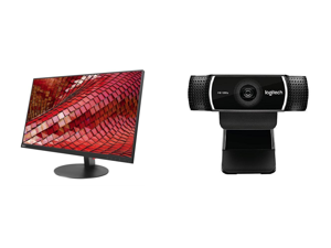 "Lenovo ThinkVision T27i-10 27"" Full HD 1920 x 1080P 75Hz VGA DisplayPort HDMI USB 3.0 Widescreen LED Backlit IPS Monitor Height Adjustable Pivot Swivel and Tile and Logitech C922 Pro Stream 1080p Webcam"