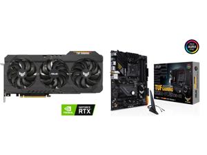 ASUS TUF Gaming GeForce RTX 3090 24GB GDDR6X PCI Express 4.0 x16 SLI Support Video Card TUF-RTX3090-O24G-GAMING and ASUS TUF GAMING B550-PLUS (WI-FI) AM4 AMD B550 SATA 6Gb/s ATX AMD Motherboard