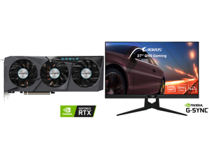"""GIGABYTE Eagle GeForce RTX 3070 Ti 8GB GDDR6X PCI Express 4.0 x16 ATX Video Card GV-N307TEAGLE OC-8GD and AORUS FI27Q-X 27"""" 240Hz 1440P HBR3 G-SYNC Compatible SS IPS Gaming Monitor Exclusive Built-in ANC 2560 x 1440 0.3ms Response Time HDR"""