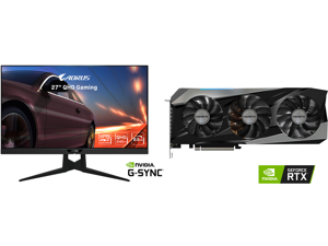 """AORUS FI27Q-X 27"""" 240Hz 1440P HBR3 G-SYNC Compatible SS IPS Gaming Monitor Exclusive Built-in ANC 2560 x 1440 0.3ms Response Time HDR 93% DCI-P3 1x DisplayPort 1.4 2x HDMI 2.0 2x USB 3.0 and GIGABYTE Gaming GeForce RTX 3070 Ti 8GB GDDR6X PC"""