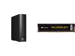 WD Elements 12TB USB 3.0 Desktop Hard Drive Black WDBWLG0120HBK-NESN and CORSAIR ValueSelect 32GB 288-Pin DDR4 SDRAM DDR4 2666 (PC4 21300) Desktop Memory Model CMV32GX4M1A2666C18