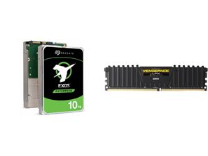Seagate Exos X10 10TB 512e SATA 6Gb/s 7200 RPM 3.5-Inch Enterprise HDD (ST10000NM0086) and CORSAIR Vengeance LPX 32GB 288-Pin DDR4 SDRAM DDR4 2666 (PC4 21300) Desktop Memory Model CMK32GX4M1A2666C16