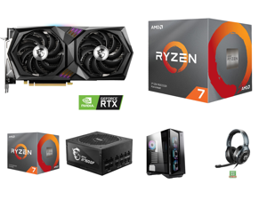 MSI Gaming GeForce RTX 3060 12GB GDDR6 PCI Express 4.0 Video Card RTX 3060 Gaming X 12G and 2 x AMD RYZEN 7 3700X 8-Core 3.6 GHz (4.4 GHz Max Boost) Socket AM4 65W 100-100000071BOX Desktop Processor and MSI MPG A750GF 750W ATX 80 PLUS GOLD