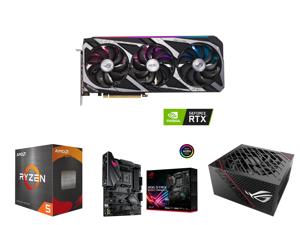 ASUS ROG Strix GeForce RTX 3060 12GB GDDR6 PCI Express 4.0 Video Card OC Edition ROG-STRIX-RTX3060-O12G-GAMING and AMD Ryzen 5 5600X 6-Core 3.7 GHz Socket AM4 65W 100-100000065BOX Desktop Processor and ASUS ROG STRIX B450-F GAMING II AM4 AM