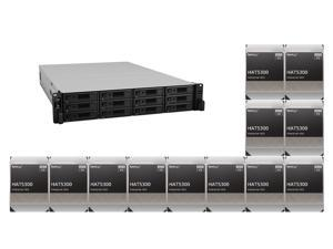 """Synology 12 bay RackStation RS3621RPxs (Diskless) and 12 x Synology HAT5300-8T Enterprise 8TB HDD SATA III 6Gb/s 512e 7200 RPM 256MB Cache 3.5"""" Internal Hard Drive"""