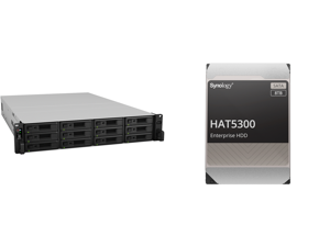 """Synology 12 bay RackStation RS3621xs+ (Diskless) and 12 x Synology HAT5300-8T Enterprise 8TB HDD SATA III 6Gb/s 512e 7200 RPM 256MB Cache 3.5"""" Internal Hard Drive"""