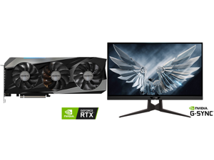"""GIGABYTE Gaming GeForce RTX 3070 Ti 8GB GDDR6X PCI Express 4.0 x16 ATX Video Card GV-N307TGAMING OC-8GD and AORUS FI27Q-P 27"""" 165Hz 1440P HBR3 G-SYNC Compatible IPS Gaming Monitor Built-in ANC 2k Display 1 ms Response Time HDR 95% DCI-P3 1x"""