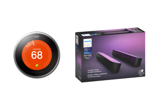 Nest Learning Thermostat - 3rd Generation Stainless Steel and Philips Hue Play White Color Smart Light 2 Pack Base kit Hub Required/Power Supply Included (Works with Amazon Alexa Apple Homekit Google Home)