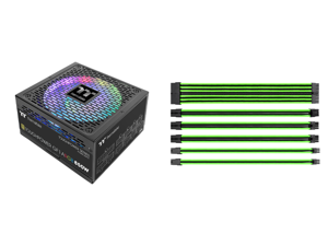 Thermaltake Toughpower GF1 ARGB 850W 80+ Gold 16.8 Million Colors 18 Addressable LEDs 5V Motherboard Sync/Analog Controlled SLI Full Modular Power Supply PS-TPD-0850F3FAGU-1 and Thermaltake AC-034-CN1NAN-A1 11.81 in. (All Cables) TtMod Slee