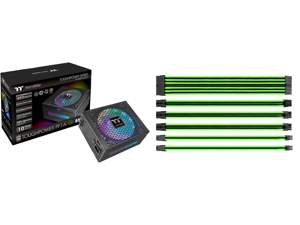 Thermaltake Toughpower PF1 ARGB 850W 80+ Platinum 16.8 Million Colors 18 Addressable LEDs 5V Motherboard Sync/Analog Controlled SLI Full Modular Power Supply PS-TPD-0850F3FAPU-1 and Thermaltake AC-034-CN1NAN-A1 11.81 in. (All Cables) TtMod