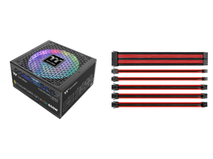 Thermaltake Toughpower GF1 ARGB 850W 80+ Gold 16.8 Million Colors 18 Addressable LEDs 5V Motherboard Sync/Analog Controlled SLI Full Modular Power Supply PS-TPD-0850F3FAGU-1 and Thermaltake AC-033-CN1NAN-A1 11.81 in. (All Cables) TtMod Slee