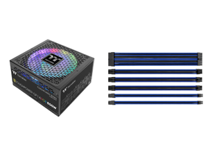 Thermaltake Toughpower GF1 ARGB 850W 80+ Gold 16.8 Million Colors 18 Addressable LEDs 5V Motherboard Sync/Analog Controlled SLI Full Modular Power Supply PS-TPD-0850F3FAGU-1 and Thermaltake AC-035-CN1NAN-A1 11.81 in. (All Cables) TtMod Slee