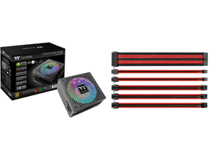Thermaltake Toughpower iRGB PLUS 850W 80+ Gold SLI/ CrossFire Ready RGB LED ATX12V v2.4/ EPS v2.92 10 Year Warranty Fully Modular Digital Power Supply PS-TPI-0850F3FDGU-1 and Thermaltake AC-033-CN1NAN-A1 11.81 in. (All Cables) TtMod Sleeve