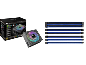 Thermaltake Toughpower iRGB PLUS 850W 80+ Gold SLI/ CrossFire Ready RGB LED ATX12V v2.4/ EPS v2.92 10 Year Warranty Fully Modular Digital Power Supply PS-TPI-0850F3FDGU-1 and Thermaltake AC-035-CN1NAN-A1 11.81 in. (All Cables) TtMod Sleeve