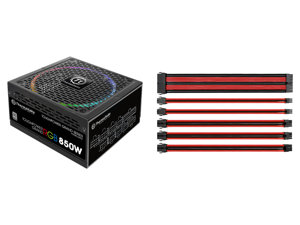 Thermaltake Toughpower Grand RGB 850W SLI/CrossFire Ready Continuous Power RGB LED Smart Zero Fan ATX12V v2.4 / EPS v2.92 80 PLUS PLATINUM Certified 10 Year Warranty Full Modular Power Supply and Thermaltake AC-033-CN1NAN-A1 11.81 in. (All