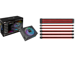 Thermaltake Toughpower PF1 ARGB 850W 80+ Platinum 16.8 Million Colors 18 Addressable LEDs 5V Motherboard Sync/Analog Controlled SLI Full Modular Power Supply PS-TPD-0850F3FAPU-1 and Thermaltake AC-033-CN1NAN-A1 11.81 in. (All Cables) TtMod