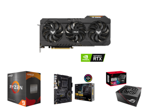 ASUS TUF Gaming GeForce RTX 3090 24GB GDDR6X PCI Express 4.0 x16 SLI Support Video Card TUF-RTX3090-O24G-GAMING and AMD Ryzen 9 5950X 16-Core 3.4 GHz Socket AM4 105W 100-100000059WOF Desktop Processor and ASUS TUF Gaming X570-PRO (WiFi 6) A