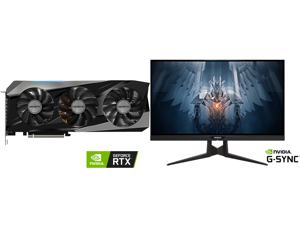 """GIGABYTE Gaming GeForce RTX 3070 Ti 8GB GDDR6X PCI Express 4.0 x16 ATX Video Card GV-N307TGAMING OC-8GD and AORUS FI27Q 27"""" 165Hz 1440P G-SYNC Compatible IPS Gaming Monitor Built-in ANC 2k Display 1 ms Response Time HDR 95% DCI-P3 1x Displa"""