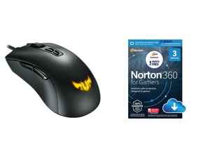 ASUS TUF Gaming M3 90MP01J0-B0UA00 Gray Wired Optical Gaming Mouse and NortonLifeLock Norton 360 for Gamers - Multi-layered protection for PCs - Includes Game Optimizer Gamer tag monitoring Secure VPN and PC Cloud Backup - 13 Months [Downlo