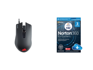 Corsair HARPOON RGB PRO FPS / MOBA Gaming Mouse Black Backlit RGB LED 12000 dpi Optical and NortonLifeLock Norton 360 for Gamers - Multi-layered protection for PCs - Includes Game Optimizer Gamer tag monitoring Secure VPN and PC Cloud Backu