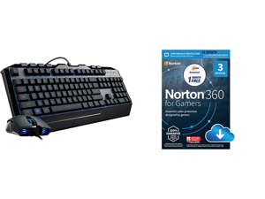 Devastator 3 Gaming Combo with RGB Keyboard and Mouse Featuring Seven Different LED Color Options By Cooler Master and NortonLifeLock Norton 360 for Gamers - Multi-layered protection for PCs - Includes Game Optimizer Gamer tag monitoring Se
