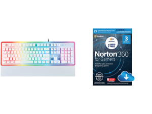 Rosewill NEON K51 - Hybrid Mechanical RGB Gaming Keyboard / Multicolor Backlit Keyboard (White) and NortonLifeLock Norton 360 for Gamers - Multi-layered protection for PCs - Includes Game Optimizer Gamer tag monitoring Secure VPN and PC Clo