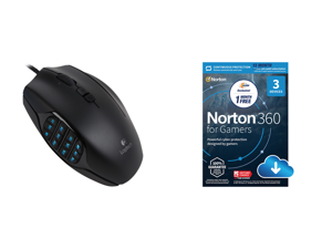 Logitech G600MMO Gaming Mouse - Black and NortonLifeLock Norton 360 for Gamers - Multi-layered protection for PCs - Includes Game Optimizer Gamer tag monitoring Secure VPN and PC Cloud Backup - 13 Months [Download]