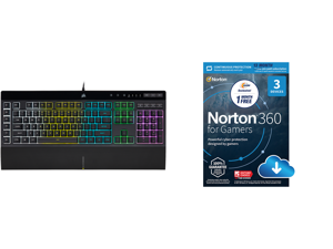 Corsair CH-9226765-NA K55 RGB PRO Gaming Keyboard and NortonLifeLock Norton 360 for Gamers - Multi-layered protection for PCs - Includes Game Optimizer Gamer tag monitoring Secure VPN and PC Cloud Backup - 13 Months [Download]